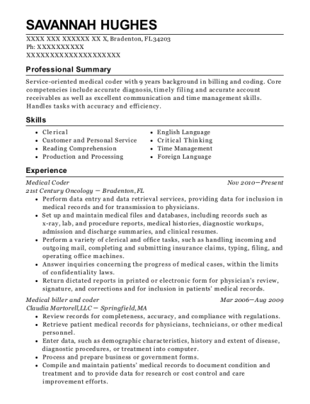 primary care consultants medical biller and coder resume