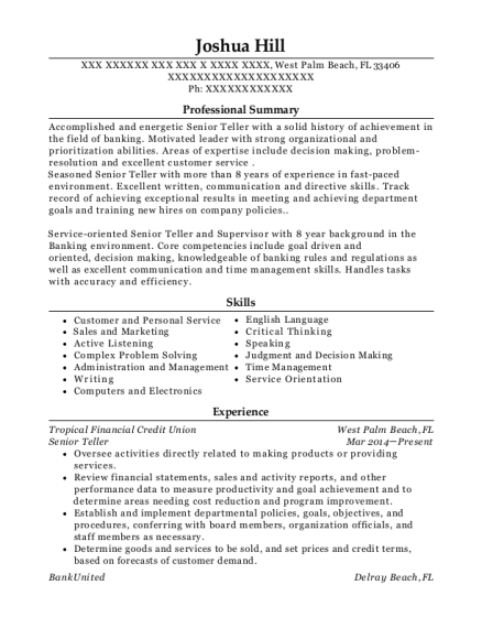 Senior Teller resume template Florida