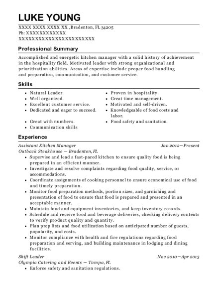 Assistant Kitchen Manager resume example Florida