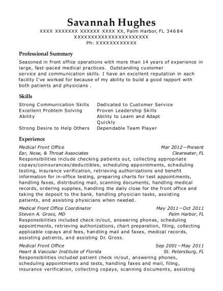 Medical Front Office resume example Florida