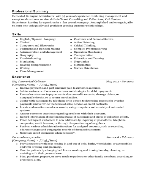 Key Commerical Collector resume sample Florida