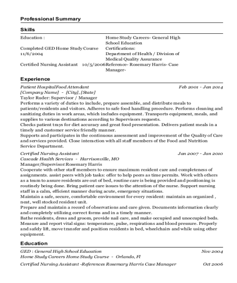 Patient HospitalFood Attendant resume sample Florida