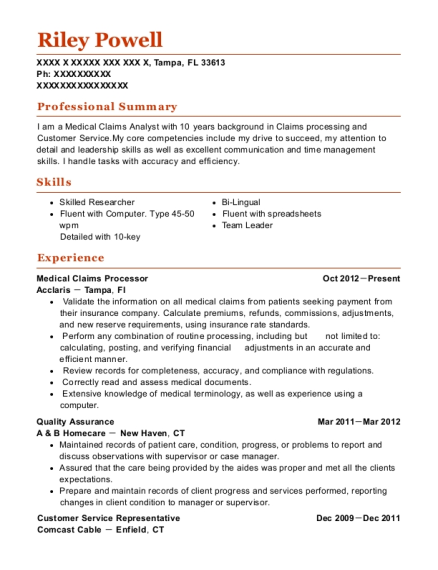 Resume for medical claims processor to write a exemplification