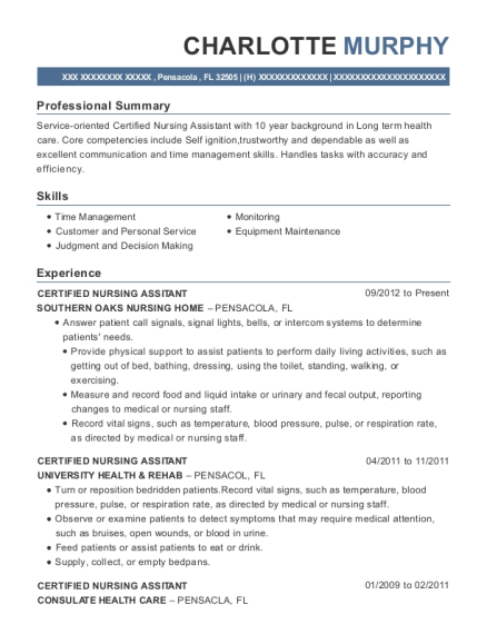 CERTIFIED NURSING ASSITANT resume sample Florida
