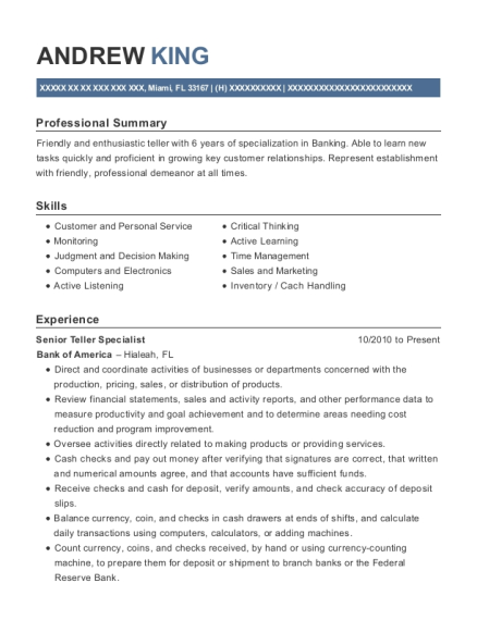 Senior Teller Specialist resume example Florida