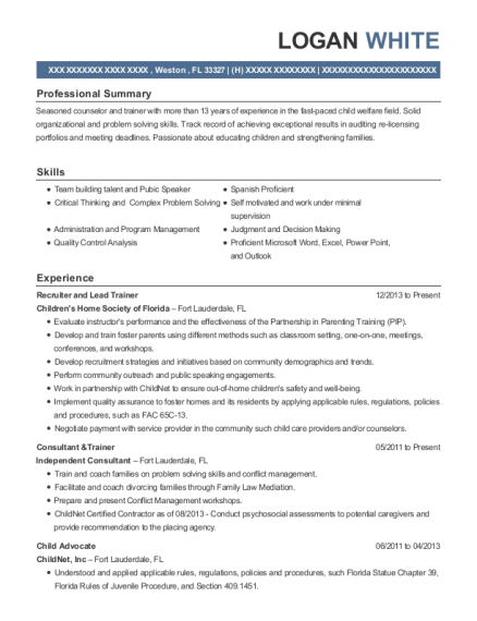 Recruiter and Lead Trainer resume example Florida