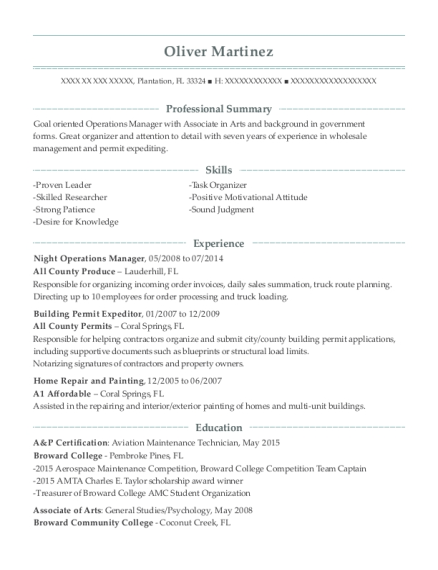 Night Operations Manager resume example Florida