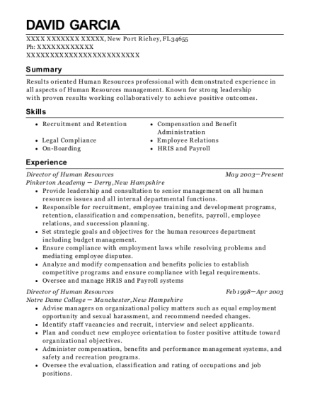 Director of Human Resources resume example Florida