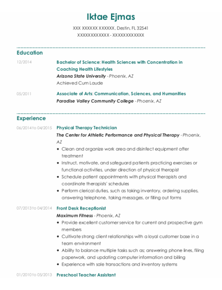 Physical Therapy Technician resume sample Florida