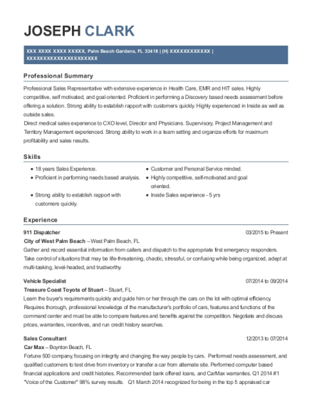 911 Dispatcher resume sample Florida