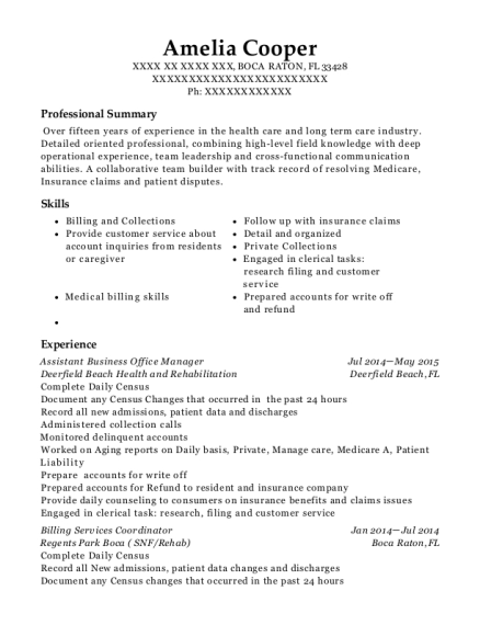 Assistant Business Office Manager resume sample Florida