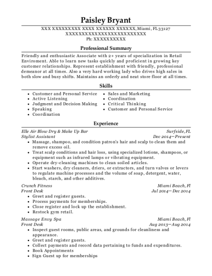 Stylist Assistant resume example Florida