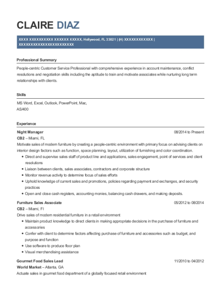 Night Manager resume example Florida