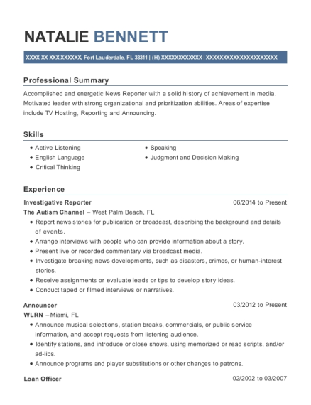 Investigative Reporter resume sample Florida