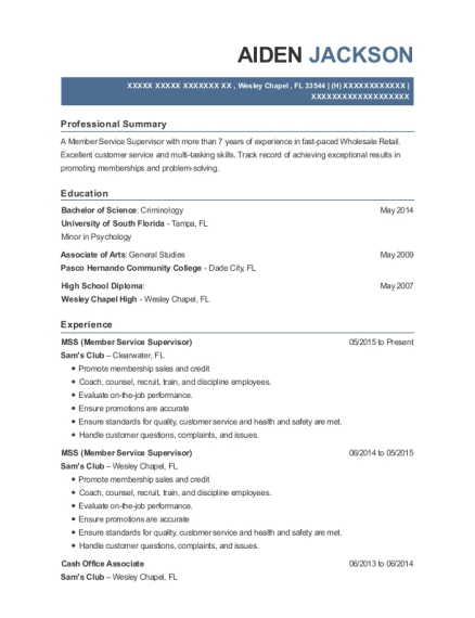 MSS resume sample Florida