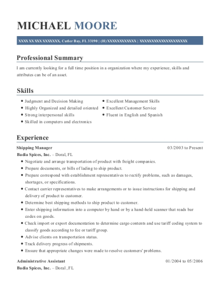 Shipping Manager resume sample Florida