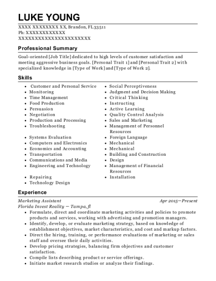 Marketing Assistant resume sample Florida