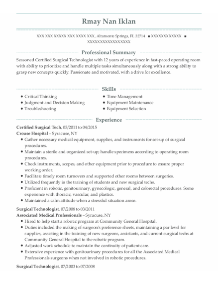 Certified Surgical Tech resume example Florida