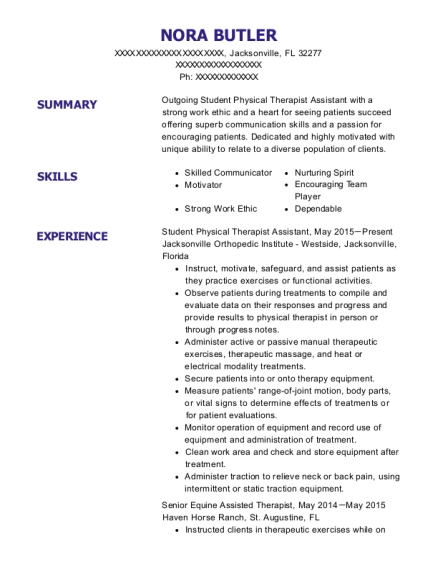 Student Physical Therapist Assistant resume template Florida