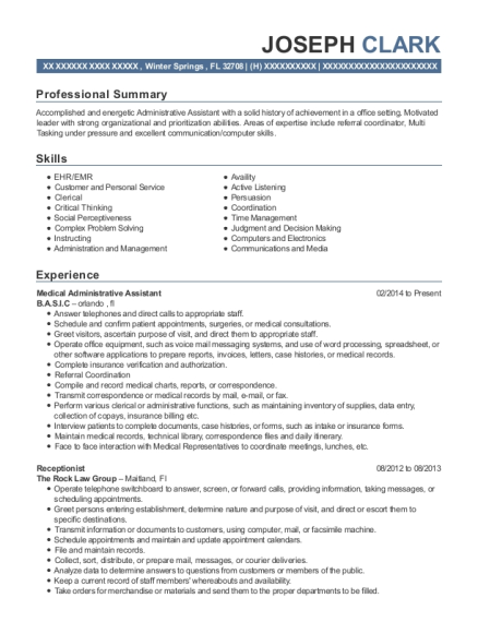 Medical Administrative Assistant resume template Florida