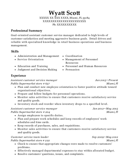 Assistant customer service manager resume format Florida