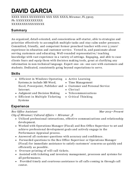 Box Office Assistant resume template Florida