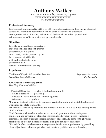 Health and Physical Education Teacher resume sample Florida