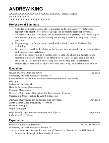 Graduate Research Assistant resume template Florida