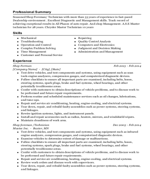 Shop Forman resume example Florida
