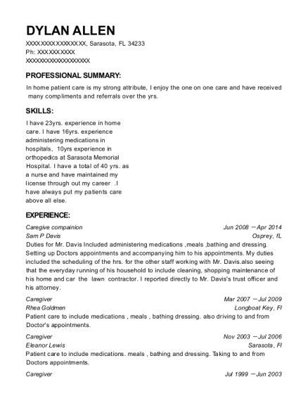 Caregive compainion resume sample Florida