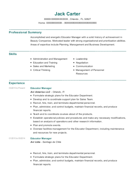 Educator Manager resume template Florida