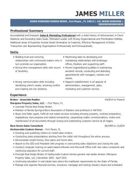 Broker Associate Realtor resume template Florida