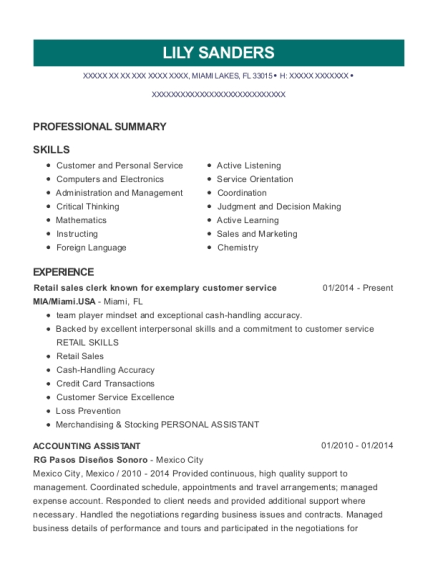 Retail sales clerk known for exemplary customer service resume template Florida