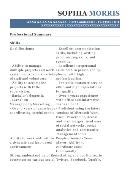 As a corporate trainer I specialized skill development position in a corporation where my goal is to resume example Florida