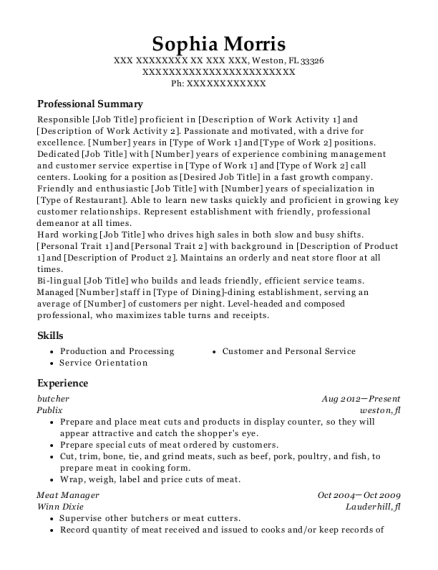 Butcher resume sample Florida