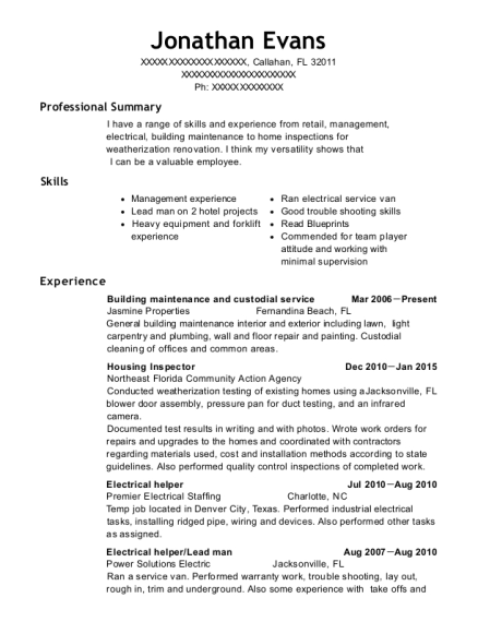 Building maintenance and custodial service resume sample Florida