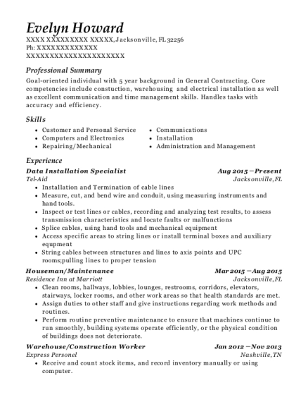 Data Installation Specialist resume format Florida