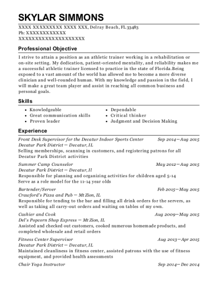 Front Desk Supervisor for the Decatur Indoor Sports Center resume template Florida