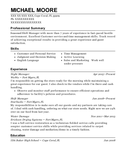 Night Manager resume template Florida