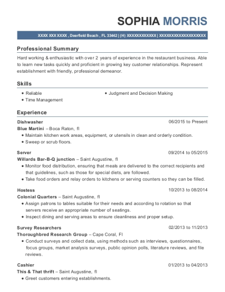 Dishwasher resume sample Florida