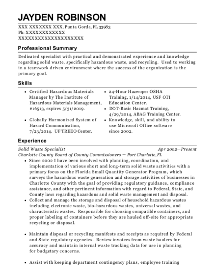 Solid Waste Specialist resume sample Florida