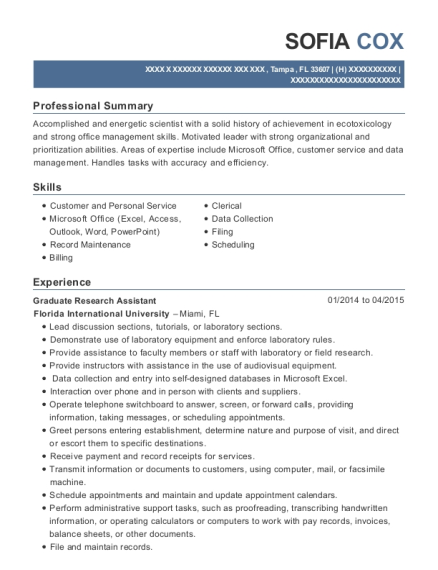 Graduate Research Assistant resume sample Florida