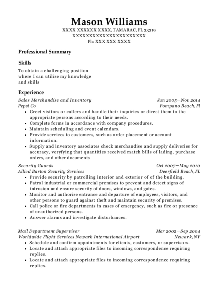 Sales Merchandise and Inventory resume template Florida