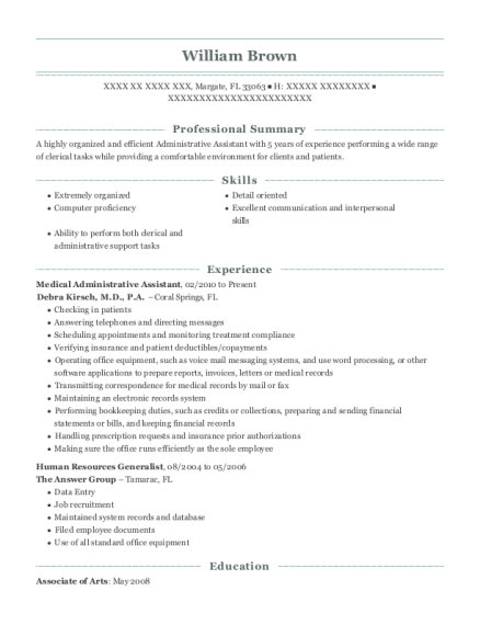 Medical Administrative Assistant resume format Florida