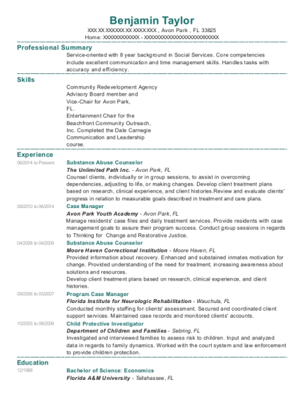 Substance Abuse Counselor resume format Florida