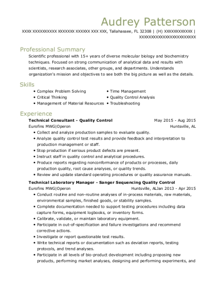 Technical Consultant Quality Control resume example Florida