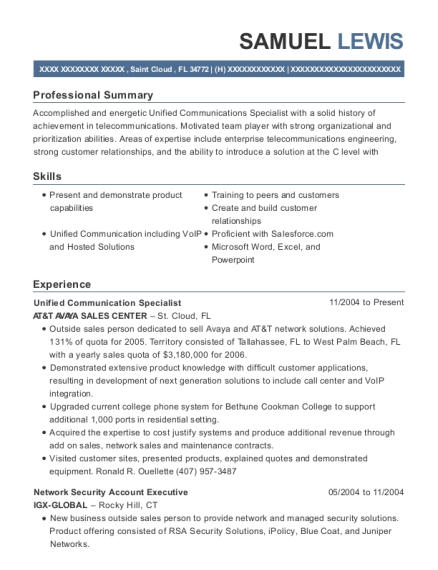 Unified Communication Specialist resume template Florida