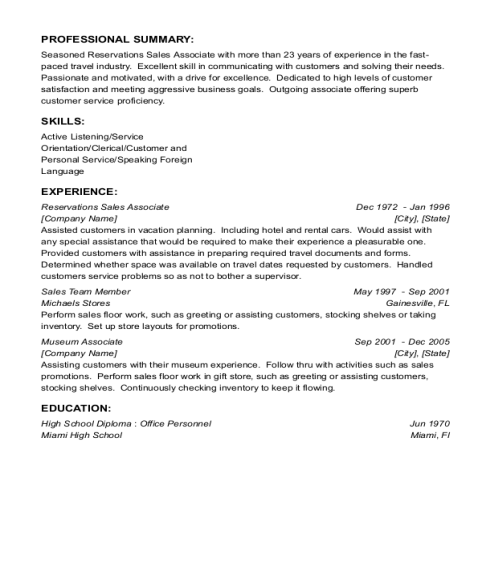 Reservations Sales Associate resume sample Florida