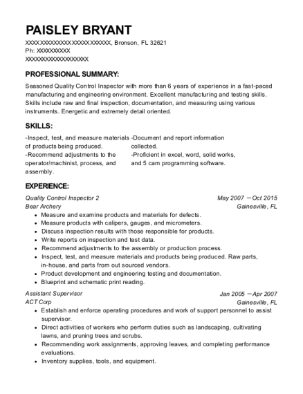 Quality Control Inspector 2 resume example Florida
