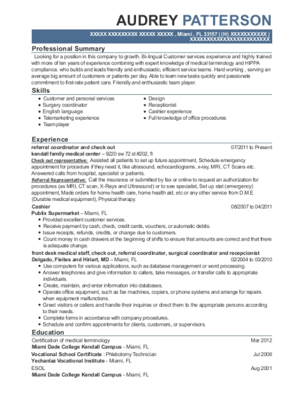 referral coordinator and check out resume sample Florida